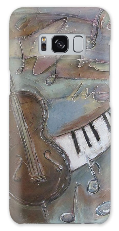 Painting Galaxy S8 Case featuring the painting Bass And Keys by Anita Burgermeister