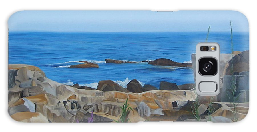 Seascape Galaxy S8 Case featuring the painting Bass Rocks Gloucester by Lea Novak