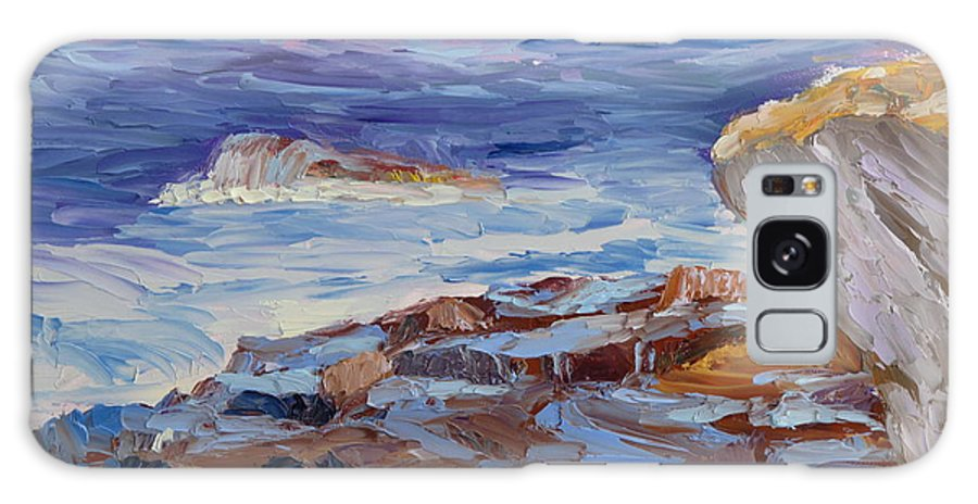 Seascape Painting Galaxy S8 Case featuring the painting Bass Rocks by Lea Novak