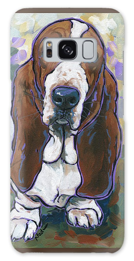 Basset Hound Galaxy S8 Case featuring the painting Basset Hound by Nadi Spencer