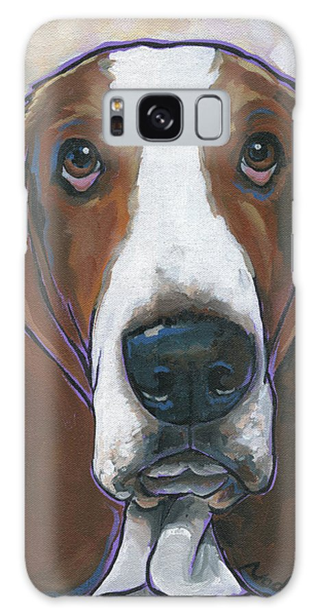 Basset Hound Galaxy S8 Case featuring the painting Basset Hound Portis by Nadi Spencer