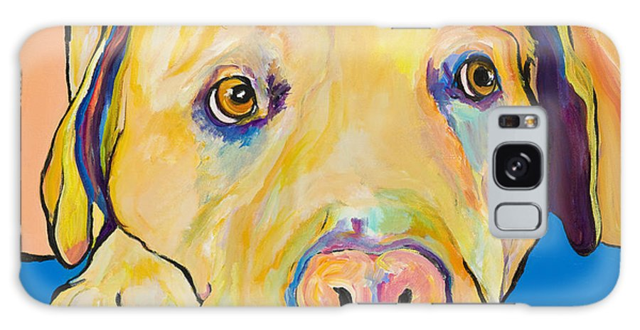 Dog Paintings Yellow Lab Puppy Colorful Animals Pets Galaxy Case featuring the painting Bath Time by Pat Saunders-White