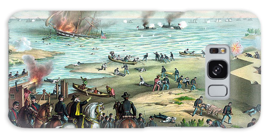 Monitor Galaxy Case featuring the painting Battle Between The Monitor And Merrimac by War Is Hell Store