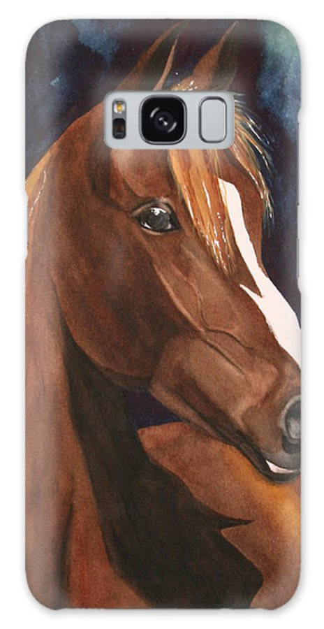 Horse Galaxy S8 Case featuring the painting Bay On Blue 2 by Jean Blackmer