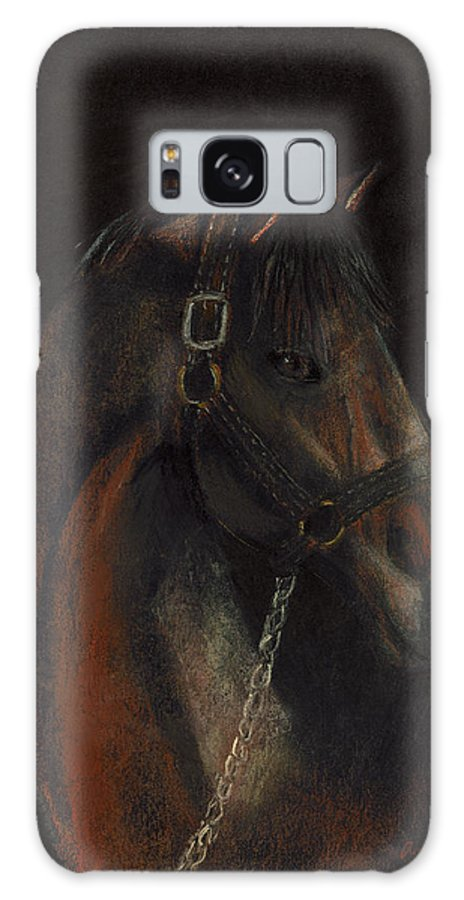 Horse Galaxy S8 Case featuring the pastel Bay Thoroughbred by Arline Wagner