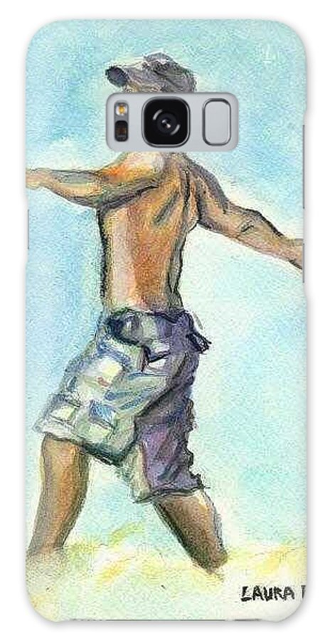 Man On Beach Galaxy S8 Case featuring the painting Beach Boy by Laura Rispoli