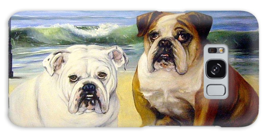 English Bull Dogs Galaxy S8 Case featuring the painting Beach Bullies by Anne Kushnick