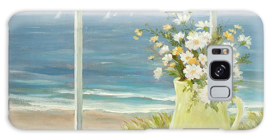 Stilllife Galaxy S8 Case featuring the painting Beach Daisies In Yellow Vase by Tina Obrien