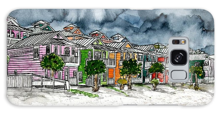 Watercolor Galaxy Case featuring the painting Beach Houses Watercolor Painting by Derek Mccrea