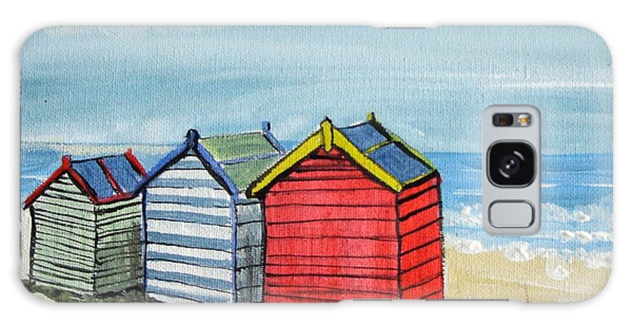 Beach Galaxy S8 Case featuring the painting Beach Huts On The Sand by Trudy Kepke