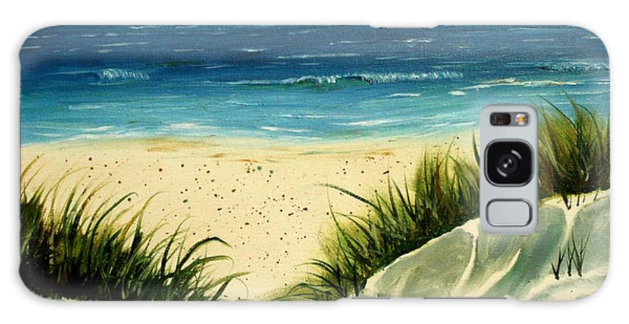 Beach Galaxy Case featuring the painting Beach Sand Dunes Acrylic Painting by Derek Mccrea