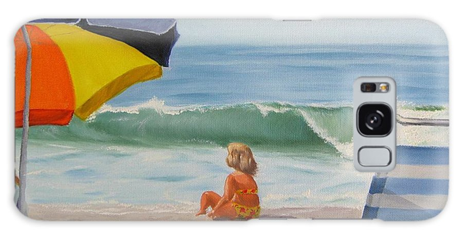 Seascape Galaxy S8 Case featuring the painting Beach Scene - Childhood by Lea Novak
