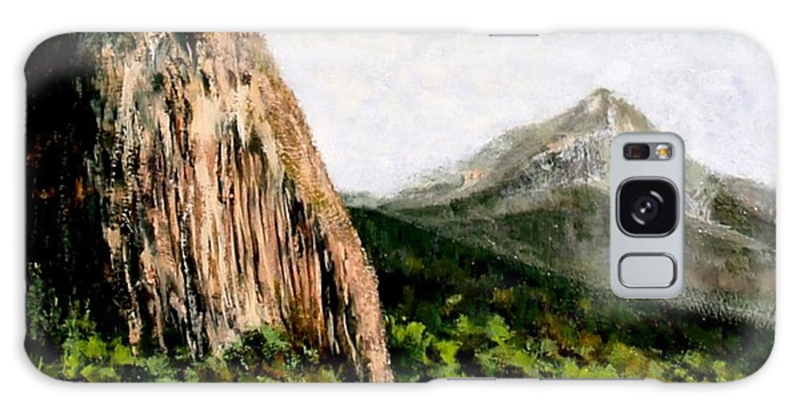 Landscape Galaxy S8 Case featuring the painting Beacon Rock Washington by Jim Gola