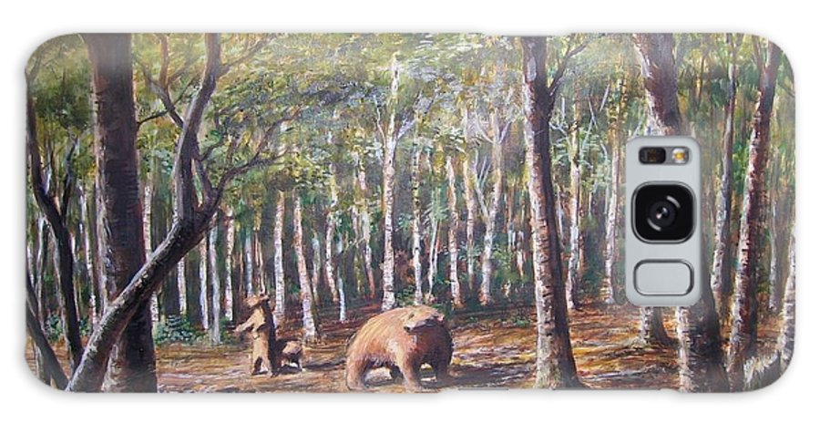 Animals Galaxy Case featuring the painting Bear And Her Cubs by Perrys Fine Art