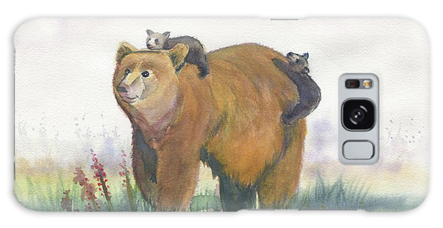 Mama Bear And Cubs Galaxy Cases Fine Art America