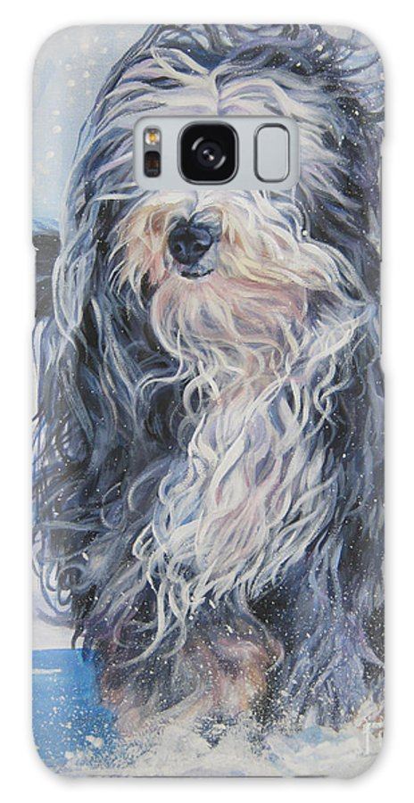Bearded Collie Galaxy S8 Case featuring the painting Bearded Collie In Snow by Lee Ann Shepard