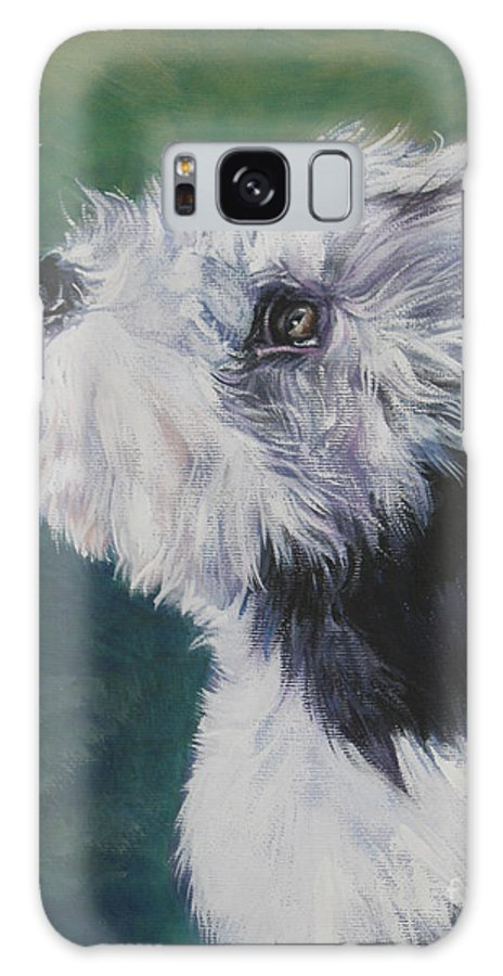 Bearded Collie Galaxy S8 Case featuring the painting Bearded Collie Pup With Butterfly by Lee Ann Shepard