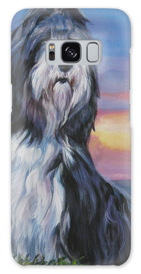 Bearded Collie Galaxy S8 Case featuring the painting Bearded Collie Sunset by Lee Ann Shepard