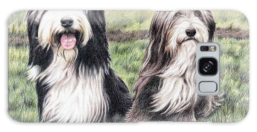 Dogs Galaxy Case featuring the drawing Bearded Collies by Nicole Zeug