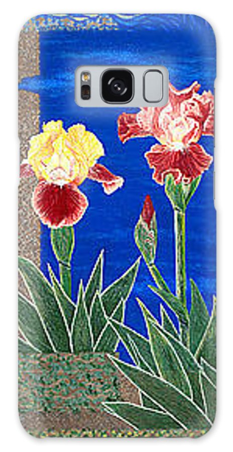 Irises Galaxy S8 Case featuring the painting Bearded Irises Cheerful Fine Art Print Giclee High Quality Exceptional Color by Baslee Troutman
