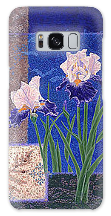 Irises Galaxy S8 Case featuring the painting Bearded Irises Fine Art Print Giclee Ladybug Path by Baslee Troutman