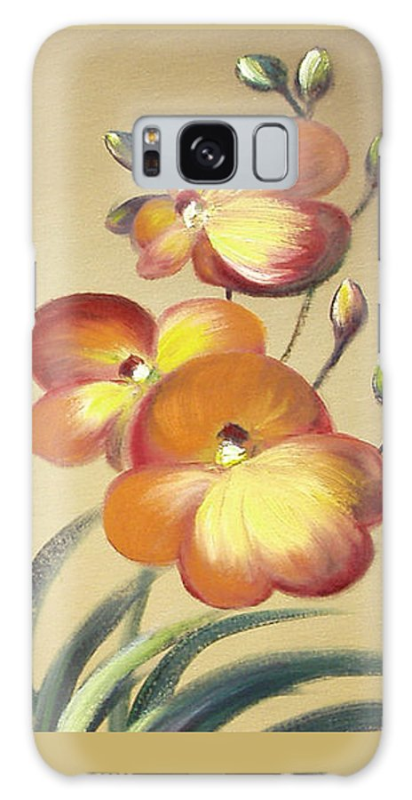 Orange Galaxy S8 Case featuring the painting Beautiful Orchid Flowers by Gina De Gorna