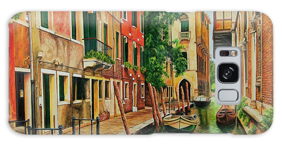 Venice Canal Galaxy S8 Case featuring the painting Beautiful Side Canal In Venice by Charlotte Blanchard