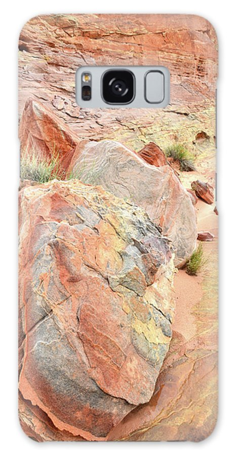 Valley Of Fire State Park Galaxy S8 Case featuring the photograph Beautifully Colored Boulders In Wash 3 - Valley Of Fire by Ray Mathis