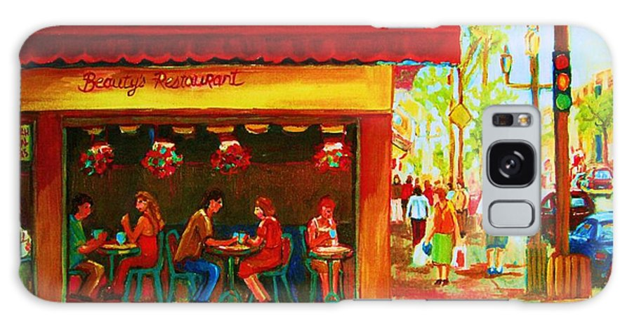 Beautys Cafe Abd Luncheonette Galaxy S8 Case featuring the painting Beautys Cafe With Red Awning by Carole Spandau