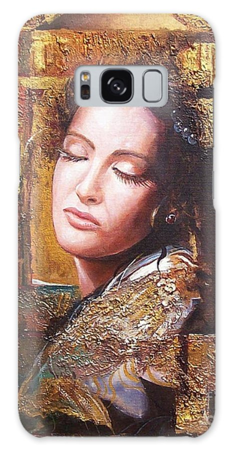 Female Portrait Galaxy S8 Case featuring the painting Because You Are Beautiful by Sinisa Saratlic
