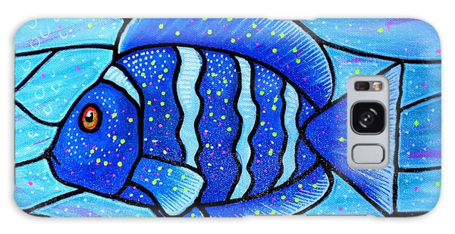 Tropical Fish Galaxy S8 Case featuring the painting Beckys Blue Tropical Fish by Jim Harris