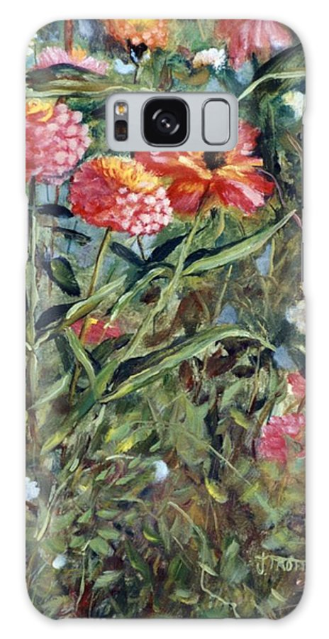 Floral Galaxy S8 Case featuring the painting Bed Of Zinnias by Jimmie Trotter