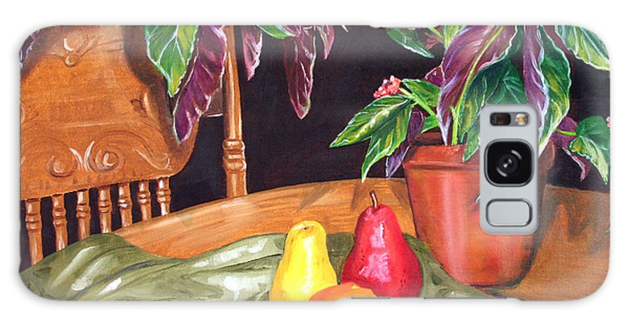 Still Life Galaxy S8 Case featuring the painting Begonias And Pears by Dorothy Riley