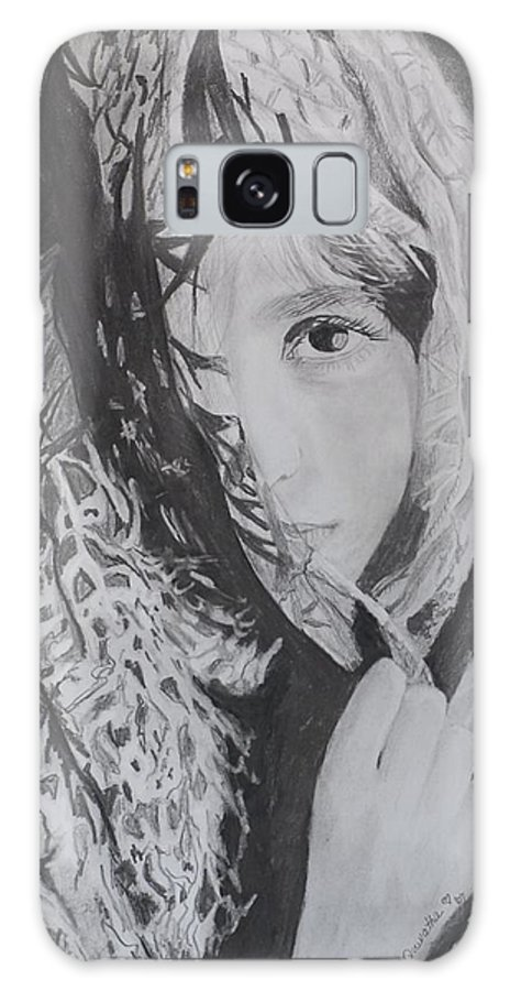 Graphite Galaxy S8 Case featuring the drawing Behind The Veil by Quwatha Valentine