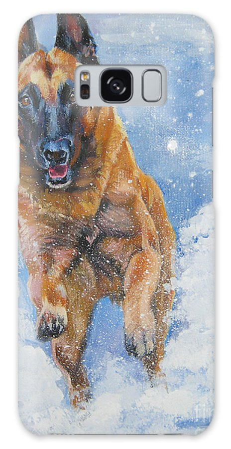 Belgian Malinois Galaxy S8 Case featuring the painting Belgian Malinois In Snow by Lee Ann Shepard