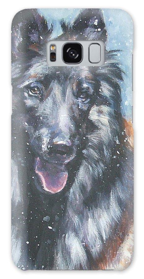 Belgian Tervuren Galaxy S8 Case featuring the painting Belgian Tervuren In Snow by Lee Ann Shepard