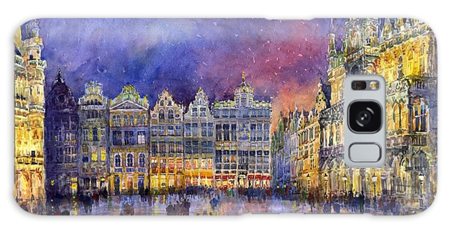 Watercolour Galaxy S8 Case featuring the painting Belgium Brussel Grand Place Grote Markt by Yuriy Shevchuk