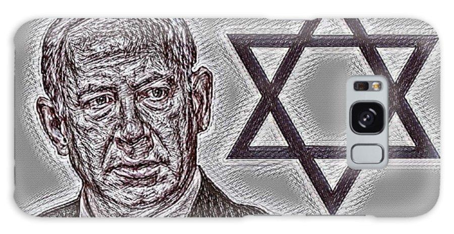 Benjamin Netanyahu With Star Of David Galaxy S8 Case featuring the photograph Benjamin Netanyahu With Star Of David by Pd