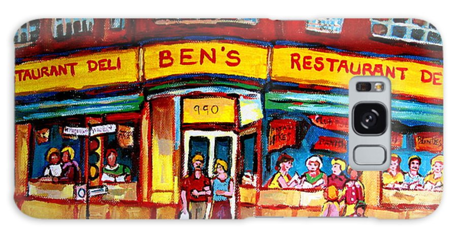 Bens Famous Restaurant Galaxy S8 Case featuring the painting Ben's Delicatessen - Montreal Memories - Montreal Landmarks - Montreal City Scene - Paintings by Carole Spandau