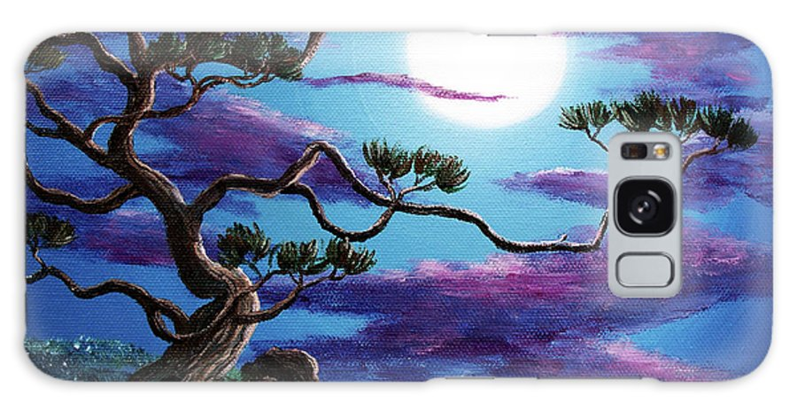 Zenbreeze Galaxy S8 Case featuring the painting Bent Pine Tree At Moonrise by Laura Iverson