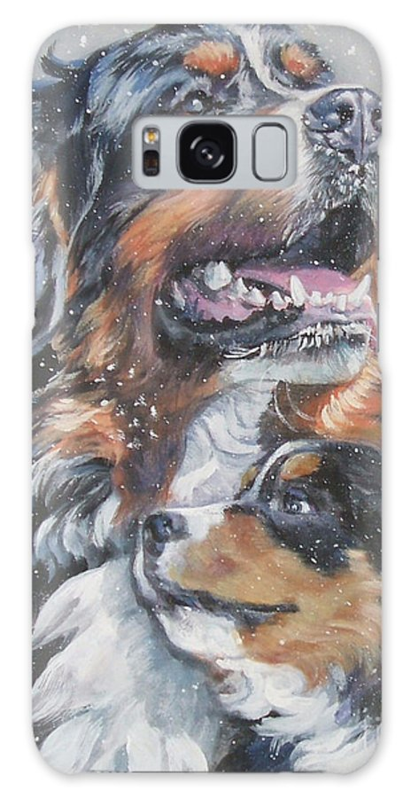Bernese Mountain Dog Galaxy S8 Case featuring the painting Bernese Mountain Dog With Pup by Lee Ann Shepard