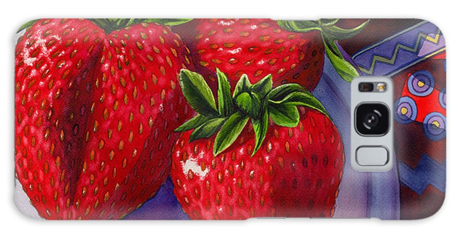 Strawberries Galaxy Case featuring the painting Berry Berry Berry Good by Catherine G McElroy