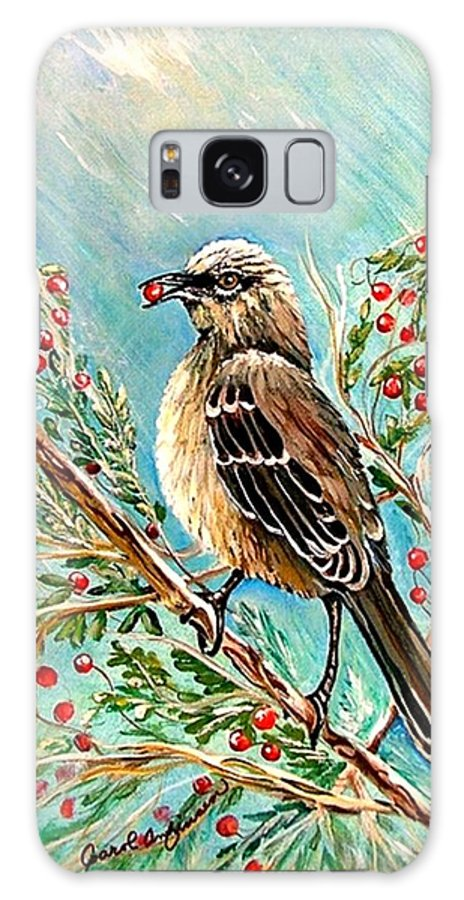 Mocking Bird Galaxy S8 Case featuring the painting Berry Picking Time by Carol Allen Anfinsen