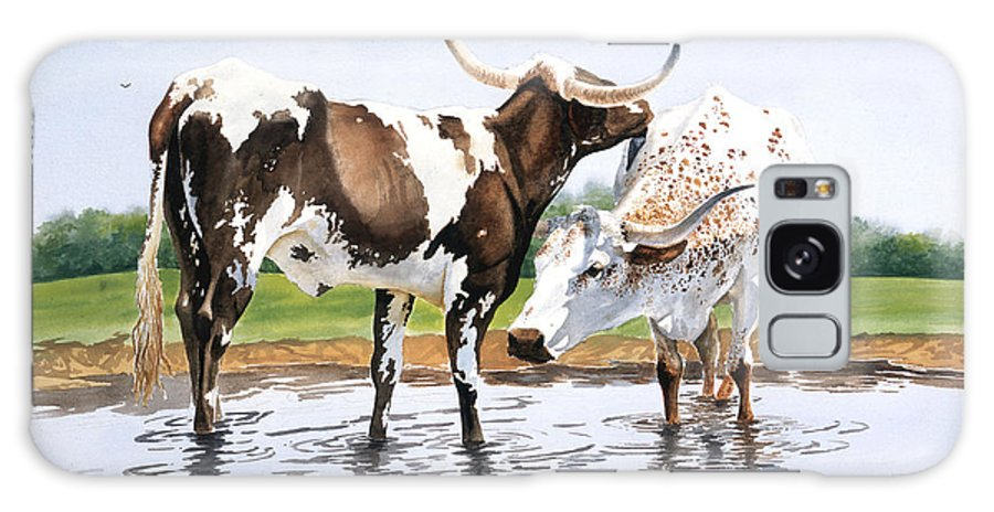 Longhorns Galaxy Case featuring the painting Best Friends by Howard Dubois