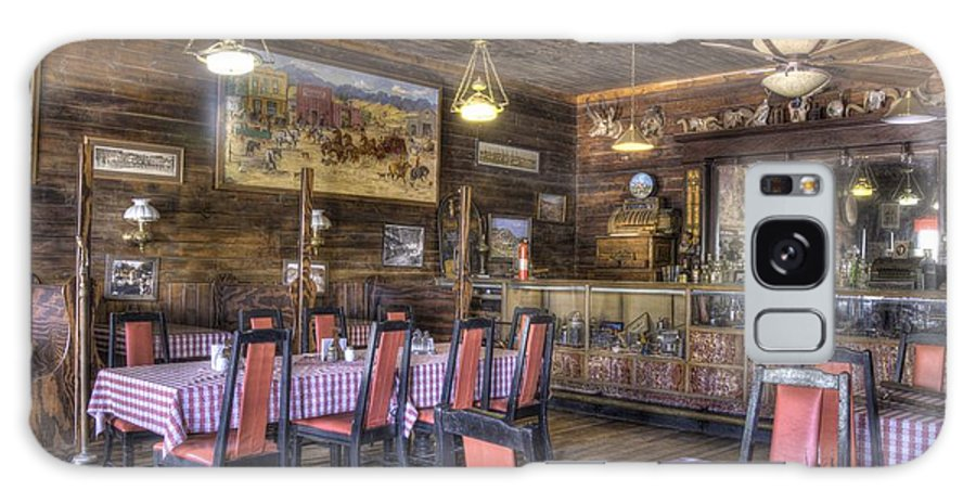 Restaurant Paintings Memorabilia Chandeliers Historic Wood Paneling Tabels Chairs Galaxy S8 Case featuring the photograph Best Resturant In Town by Thomas Todd