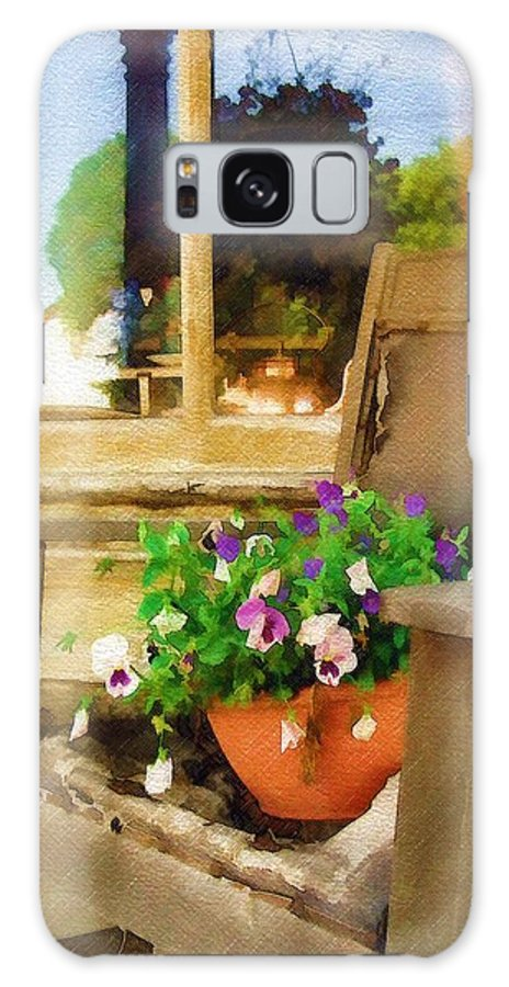 Pansies Galaxy Case featuring the photograph Best Seat In The House by Sandy MacGowan