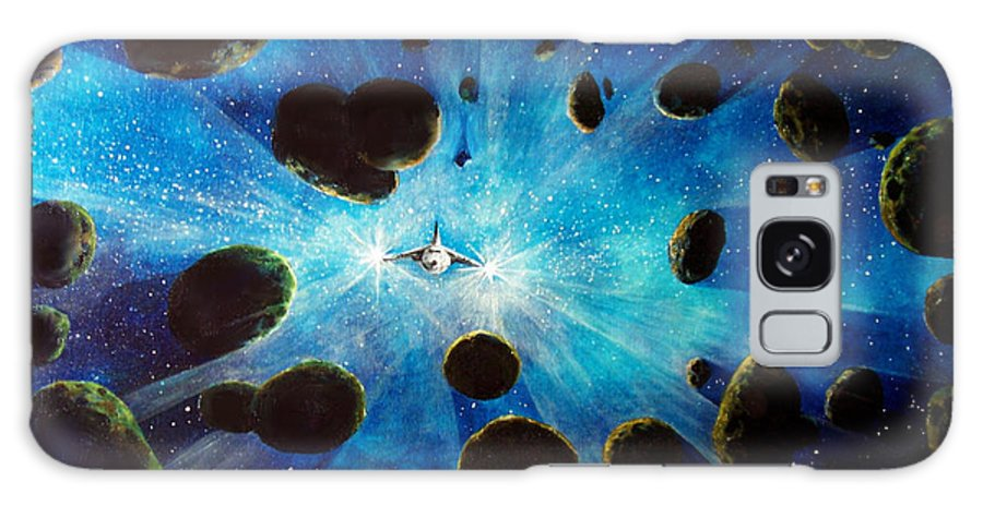Asteroid Field. Astro Galaxy S8 Case featuring the painting Better Go Around by Murphy Elliott