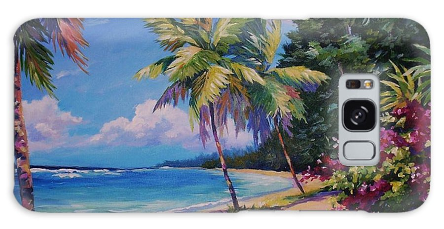 Poinciana Galaxy S8 Case featuring the painting Between The Palms 20x16 by John Clark