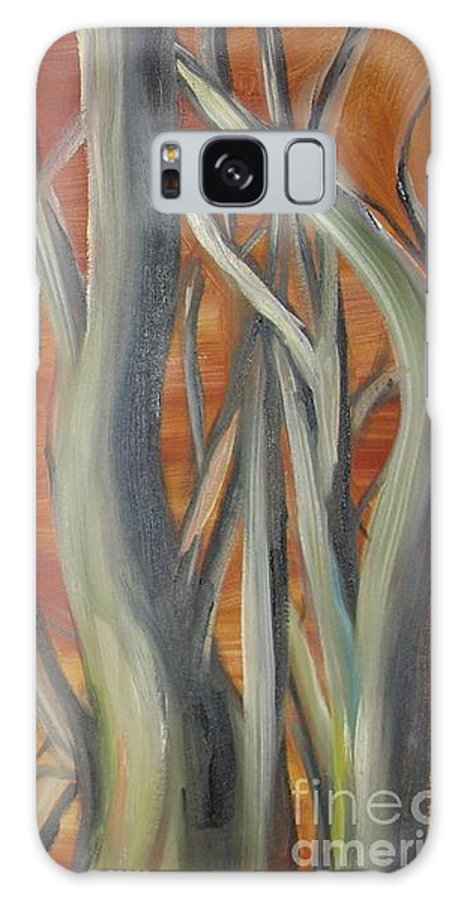 Trees Forest Original Painting Abstract Galaxy S8 Case featuring the painting Beyond by Leila Atkinson