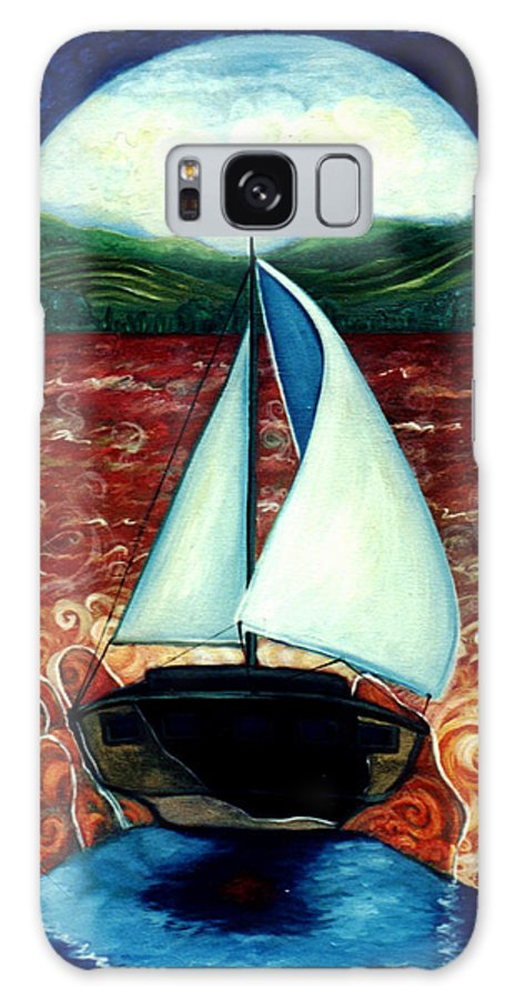 Sailboat Galaxy Case featuring the painting Beyond These Shores by Teresa Carter